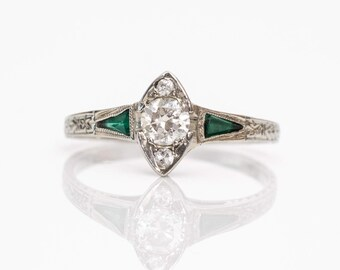 Circa 1915 Unique Marquise Shaped Emerald & Diamond 18k Gold Engagement Ring, ATL #151B