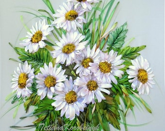 """Ribbon Embroidered picture """"Daisies"""" Silk ribbon wild flowers embroidered flowers daisies embroidery ribbon embroidery wall art ribbon work"""