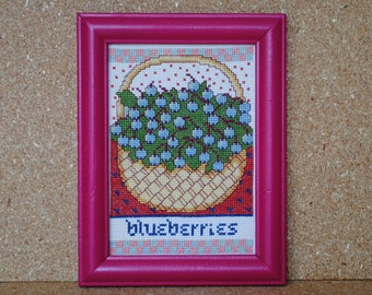Vintage Cross Stitch Blueberries Cross Stitch in Magenta Pink Frame