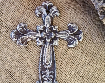 wall cross, iron wall cross, ornate wall cross, floral cross, shabby chic cross, rustic  cross, iron 6 year anniversary, unique wall cross