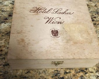 "Hotel Lacher Wien cigar box , wood  7-1/2"" x 7-1/2"" x 2-1/8"" ( Vienna Austria)"