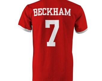 David Beckham 7 England Football Ringer T-Shirt Red/White