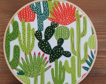 Happy Cactus Embroidery, Succulent Hand Embroidery, Succulent Hoop Art