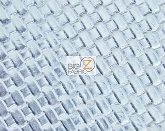 Lattice Basket Weave Upholstery Vinyl Fabric - SILVER - By The Yard Embossed PU Leather