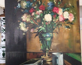 Vintage Floral Still Life Original Oil Painting by Laram, Hungary Budapest, Vase of Flowers with Coffee Cup