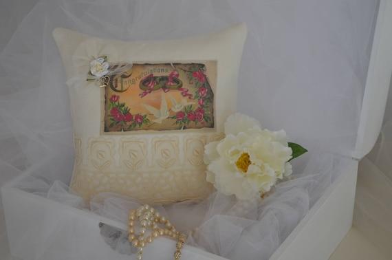 """Wedding Ring Bearer Pillow """"Congratulations"""" Lovebirds"""