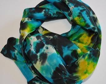 Turquoise & Black Silk Scarf
