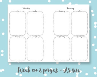 A5 Planner pages printable digital download week on two pages laurels organiser pages planner inserts The Bronx
