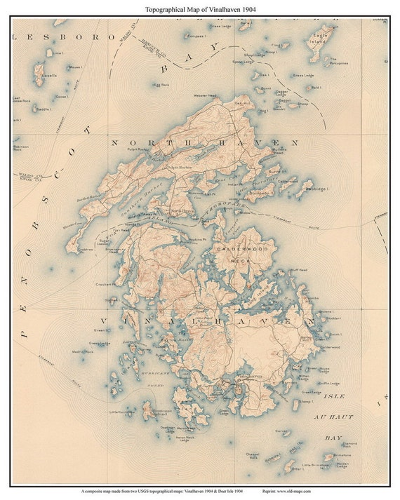 Vinalhaven 1904 USGS Old Topographic Map Custom Composite