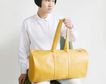 Weekender Mustard Yellow. Duffle Bag,  big shoulder bag, travel bag, overnight bag, cotton lining