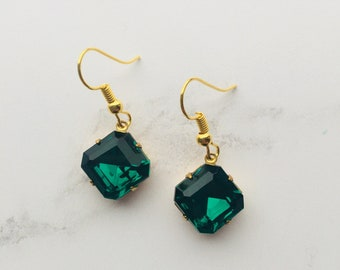 Emerald green octagon vintage glass stone set in drop earrings
