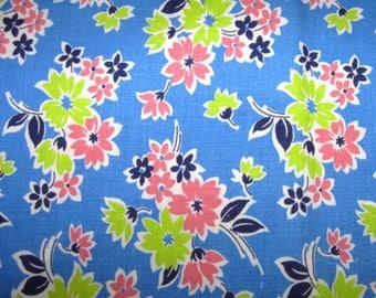 Vintage Feedsack Flour Sack Fabric Blue Pink Lime Floral 1930's 1940's 1950's Quilt Fat Quarter Cotton Patchwork