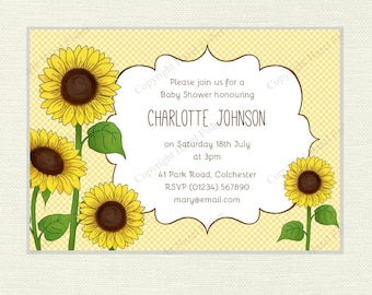 Sunflower Invitation  - Bridal Shower, Birthday Party, Baby Shower, Wedding invite, yellow floral customised printable, digital - IN034