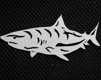 Shark Ornament - Colors:  Silver with Silver Glitter, Blue