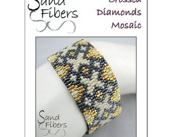 Peyote Pattern -  Crossed Diamonds Mosaic Peyote Cuff / Bracelet  - A Sand Fibers For Personal/Commercial Use PDF Pattern