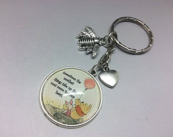 Winnie the Pooh and Piglet Quote Charm Keyring