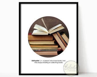 Circle Photo Print, Printable Wall Art, Definition Print, Bibliophile, Book Lover, Digital Print, Minimalist, Books, Photography