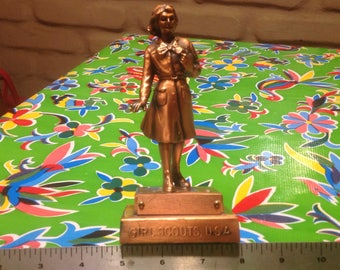 Vintage bronzed Girl Scouts USA trophy by Marjorie Daingerfield, 1953