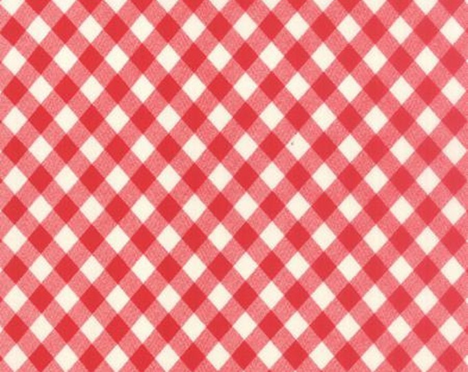 Vintage Picnic Floral Check Red - 1/2yd