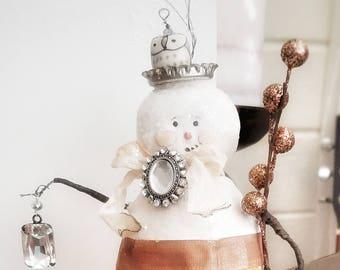 Humberto the snowman-mixed media sculpture