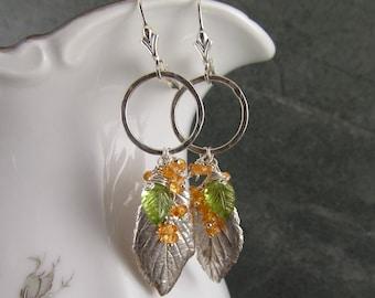 Mandarin garnet leaf earrings, handmade eco friendly fine silver rose leaf earrings with peridot-OOAK