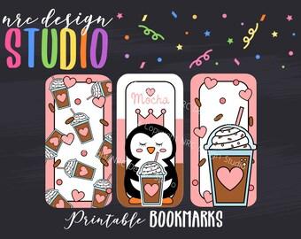 SALE Printable Bookmarks, Planner Die Cuts, Planner Bookmarks, Coffee Printable, Page Marker, Penguin, Journal, Planner Accessories