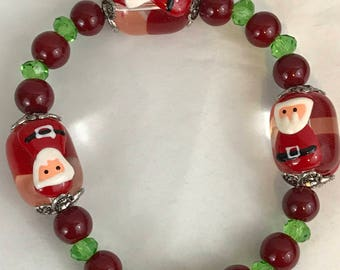 Christmas Santa Claus Faceted Beaded Stretch Bracelet New