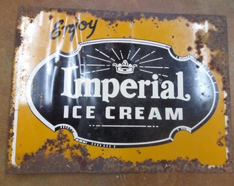 "Antique Advertising Sign: metal ""Imperial Ice Cream"" Flange Sign...Primitive Vintage Folk Rustic Parlor Country Dairy Farm Frozen Yogurt"