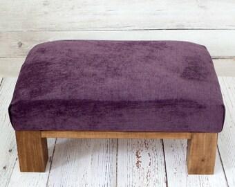 Velvet ottoman - purple ottoman - velvet furniture - velvet upholstery - small ottoman - purple living room decor - rustic furniture ottoman
