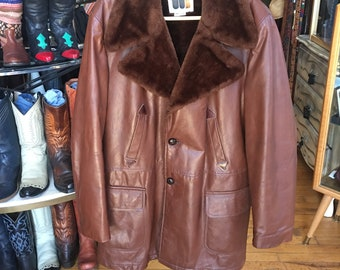 Vintage Men's Brown Leather and Fleece Lined Coat Winter Leather Coat Size 44 Long