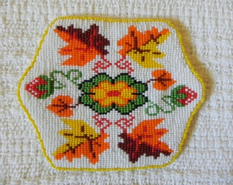 Native American Ute Autumn Leaves Beaded Piece