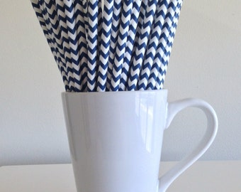 Navy Blue Chevron Paper Straws Navy Party Supplies Party Decor Bar Cart Cake Pop Sticks Mason Jar Straws  Party Graduation