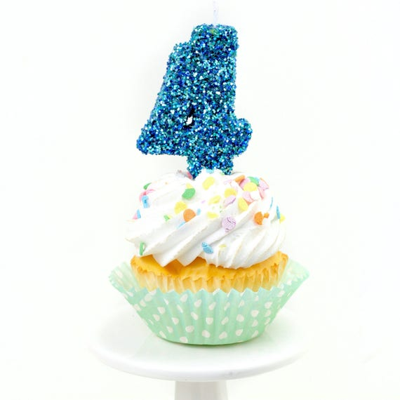"""3"""" Number 4 Candle, Giant 4 Candle, Large Blue Candle, Mermaid Birthday, Giant Glitter Candle, Boy Party Decor, Multi-Colored Glitter"""