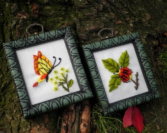 Woodland Insects & Flowers Embroidered Wall Art Set, Vintage Bohemian Crewel Embroidery - Retro Nature Floral Garden Home Decor Holiday Gift