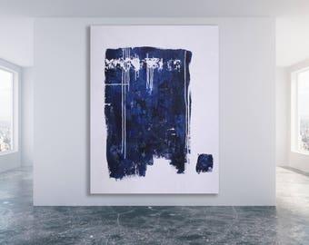 Blue and White MinimalistArt / Large Modern Art / Extra Large Blue Art / Blue and Grey Painting / Oversized Abstract Art / Blue Art