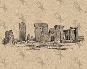 Antique image Stonehenge Instant Download picture  printable Vintage clipart digital graphic scrapbooking, burlap, stickers, decor HQ 300dpi