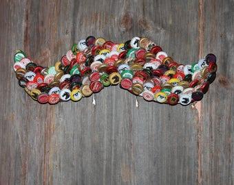 Handcrafted Craft Beer Bottle Cap Mustache Wall Hanging-Man Cave-Bar-Den