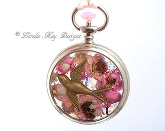 Dried Flower Swallow Bird Necklace Romantic Pink Cast Resin One-of-a-Kind Watch Case Pendant