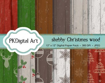 "Shabby Chic Christmas Wood Digital Paper - ""Shabby Christmas Wood""  Scrapbook Paper Background Crafting Supplies"