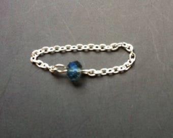 Small swarovski turquoise Silver 925 chain ring