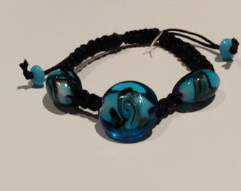 Bracelet, MURANO glass, blue and black beads