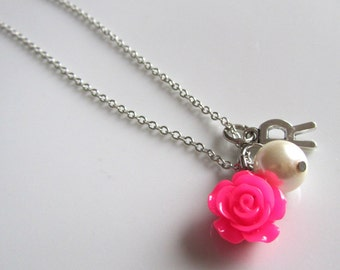 Sale, Pearl necklace with fuschia rose, flower girl necklace, bridal necklace, bridesmaids necklace, wedding necklace, pearl necklace