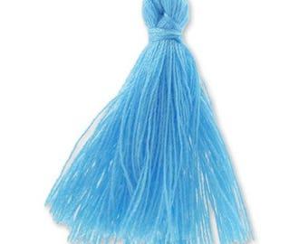 30mm TURQUOISE blue cotton tassel