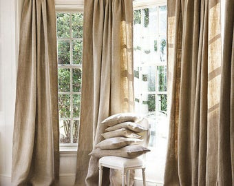 Sale! Burlap curtains, living room curtains. bedroom cvurtains.