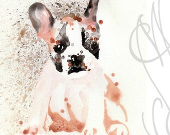 "Martinefa's Original watercolor and Ink Dog ""Chiot"" (Puppy)"