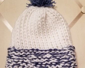 Blue and white baby pompom hat