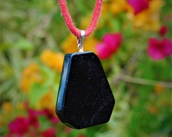 Black Tourmaline Protection Pendant with Sterling Silver Bail