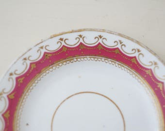 Antique Berry and Gold Colored Saucer