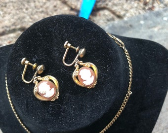 Vintage cameo necklace and earring set