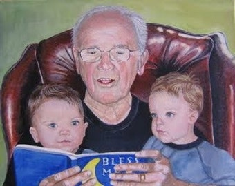 Original Custom Family Portrait Painting of 3 people from your photo, oil painting on canvas, children, grandchildren, family group